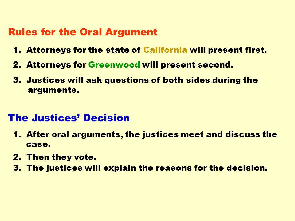 After the justices have decided, click to next slide.