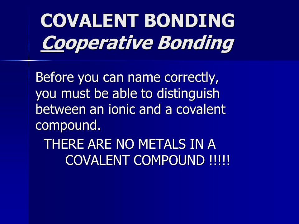 COVALENT BONDING Cooperative Bonding