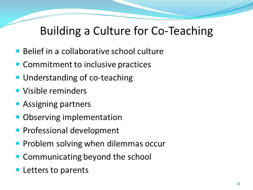 Building a Culture for Co-Teaching