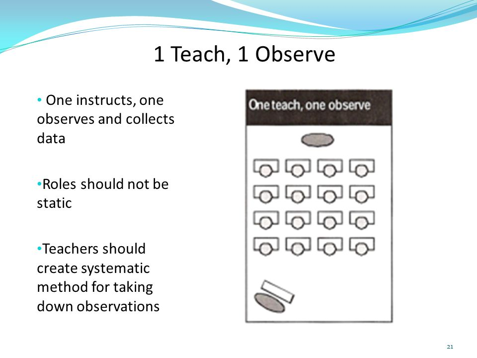 1 Teach, 1 Observe One instructs, one observes and collects data