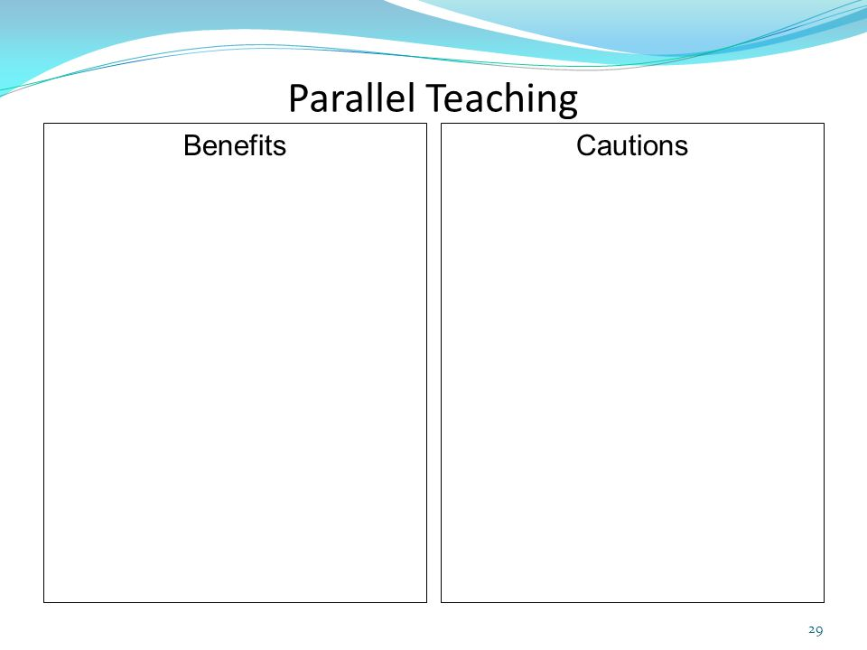 Parallel Teaching Benefits Cautions