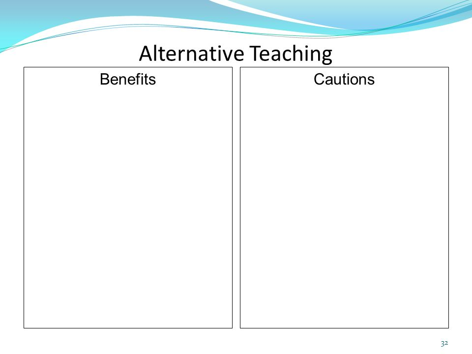 Alternative Teaching Benefits Cautions