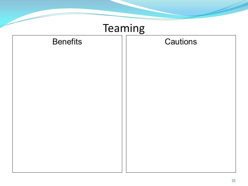 Teaming Benefits Cautions