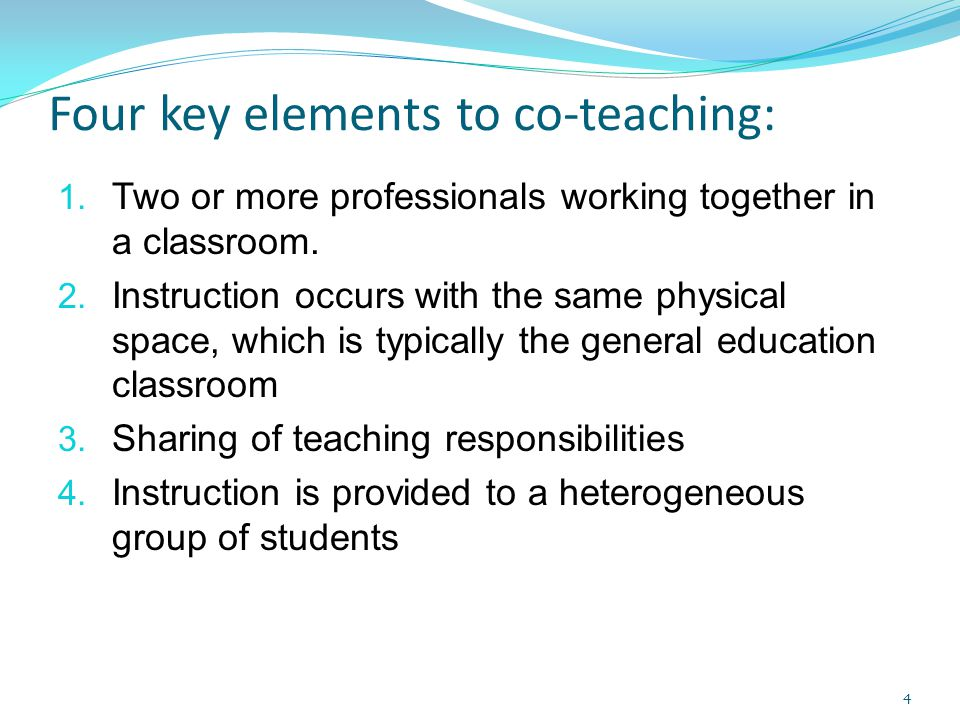 Four key elements to co-teaching: