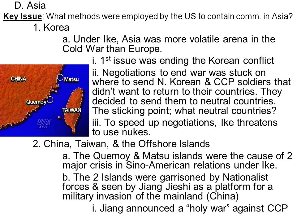 i. 1st issue was ending the Korean conflict