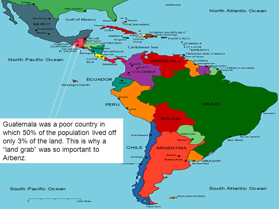 Guatemala was a poor country in which 50% of the population lived off only 3% of the land.