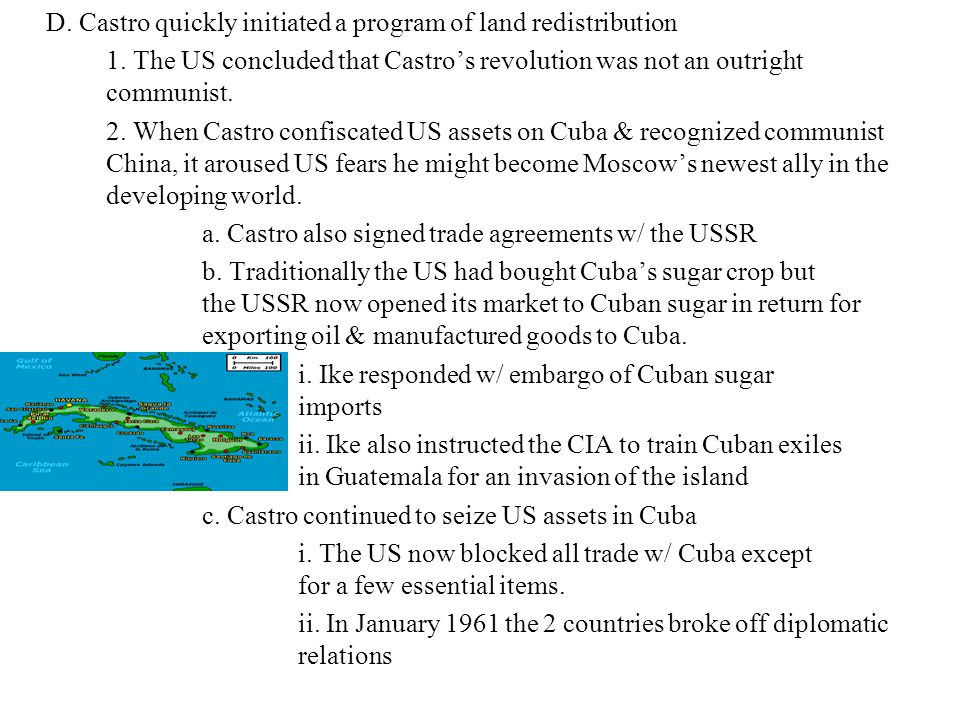 D. Castro quickly initiated a program of land redistribution