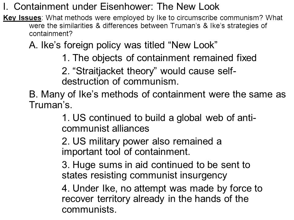 I. Containment under Eisenhower: The New Look