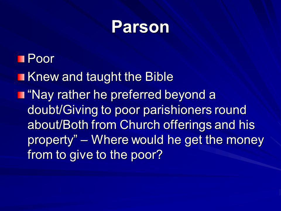 Parson Poor Knew and taught the Bible