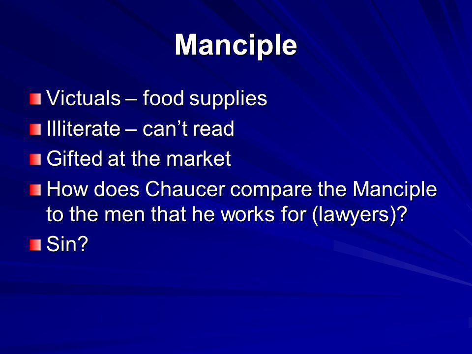 Manciple Victuals – food supplies Illiterate – can't read
