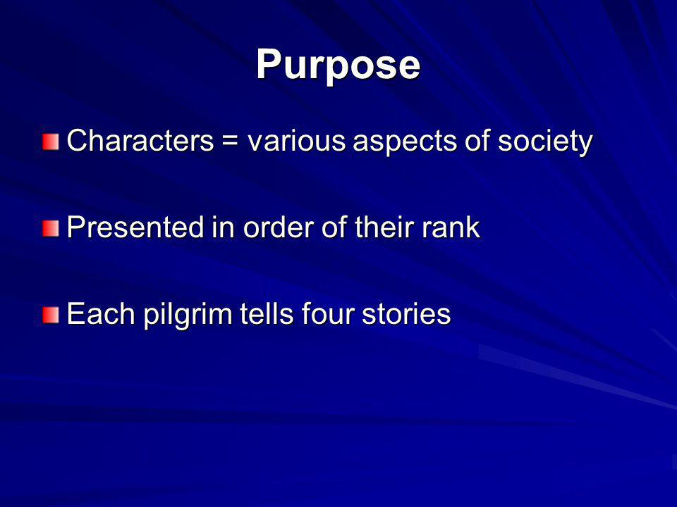 Purpose Characters = various aspects of society
