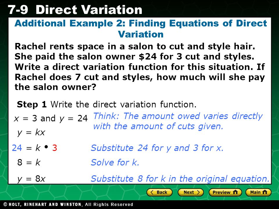 Additional Example 2: Finding Equations of Direct Variation