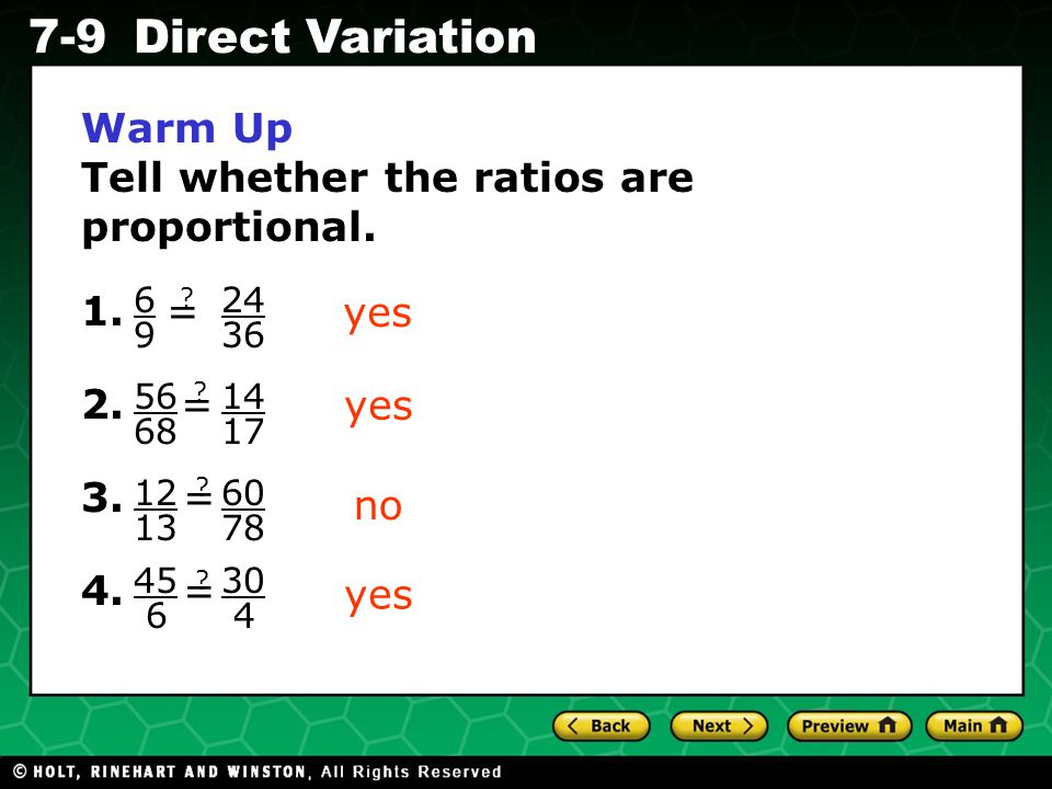 Tell whether the ratios are proportional.