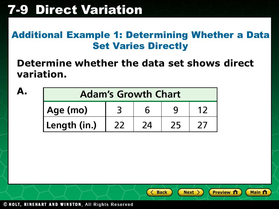 Additional Example 1: Determining Whether a Data Set Varies Directly