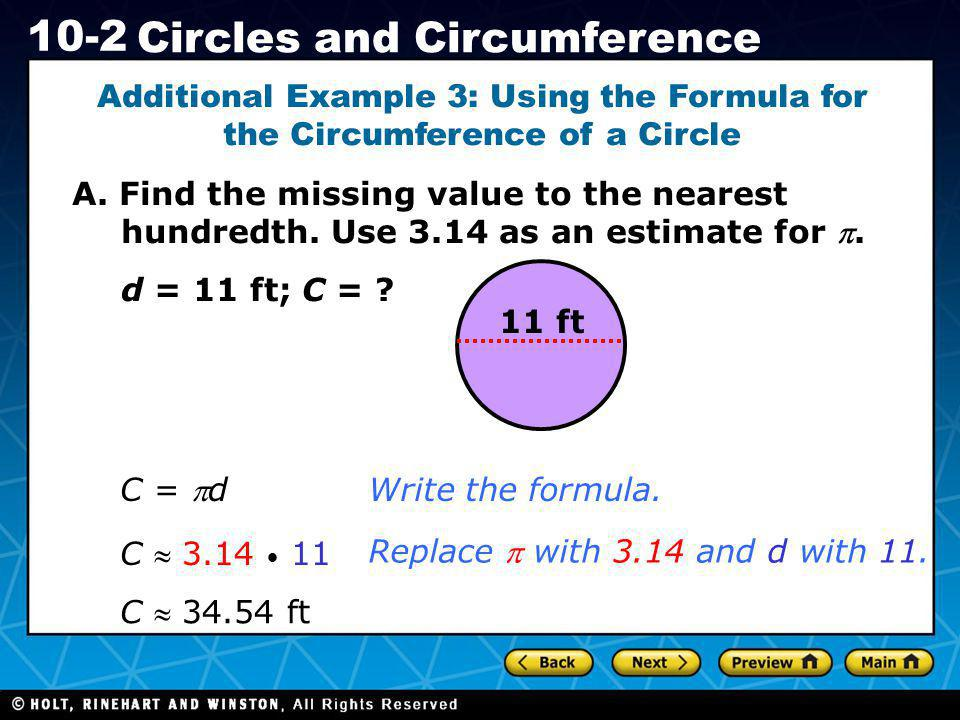 Additional Example 3: Using the Formula for the Circumference of a Circle