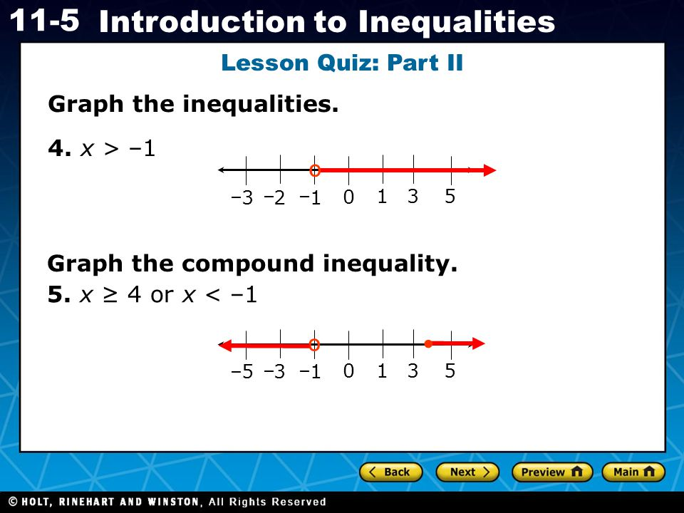 º º Lesson Quiz: Part II Graph the inequalities. 4. x > –1