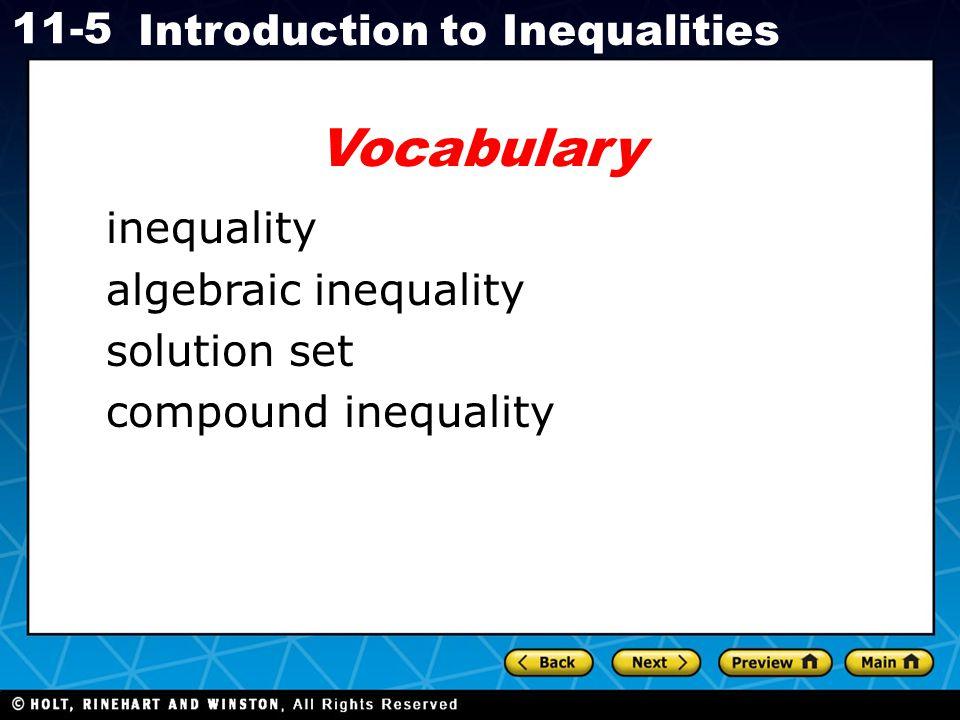 Vocabulary inequality algebraic inequality solution set