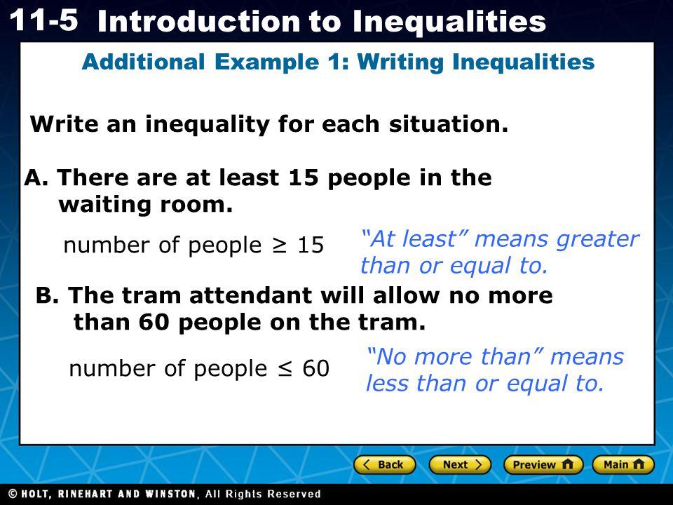 Additional Example 1: Writing Inequalities