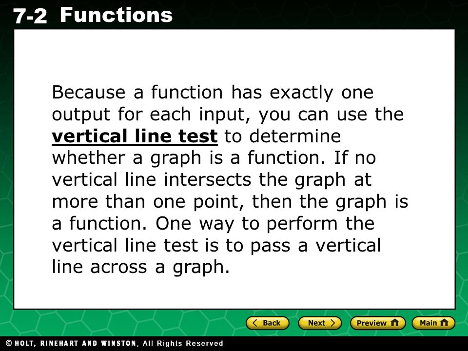 Because a function has exactly one output for each input, you can use the vertical line test to determine whether a graph is a function.