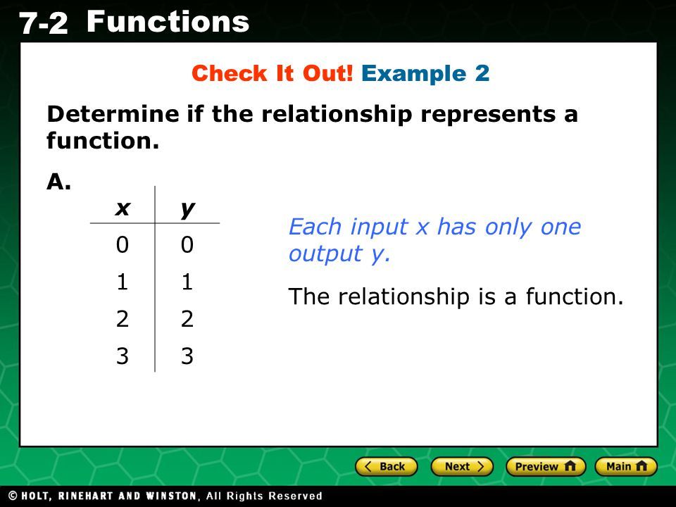 Check It Out! Example 2 Determine if the relationship represents a function. A. x. y. 1. 2. 3.