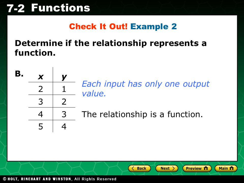 Check It Out! Example 2 Determine if the relationship represents a function. B. x. y. 2. 1. 3.