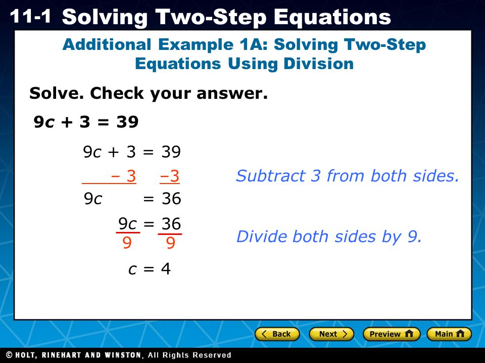 Additional Example 1A: Solving Two-Step Equations Using Division