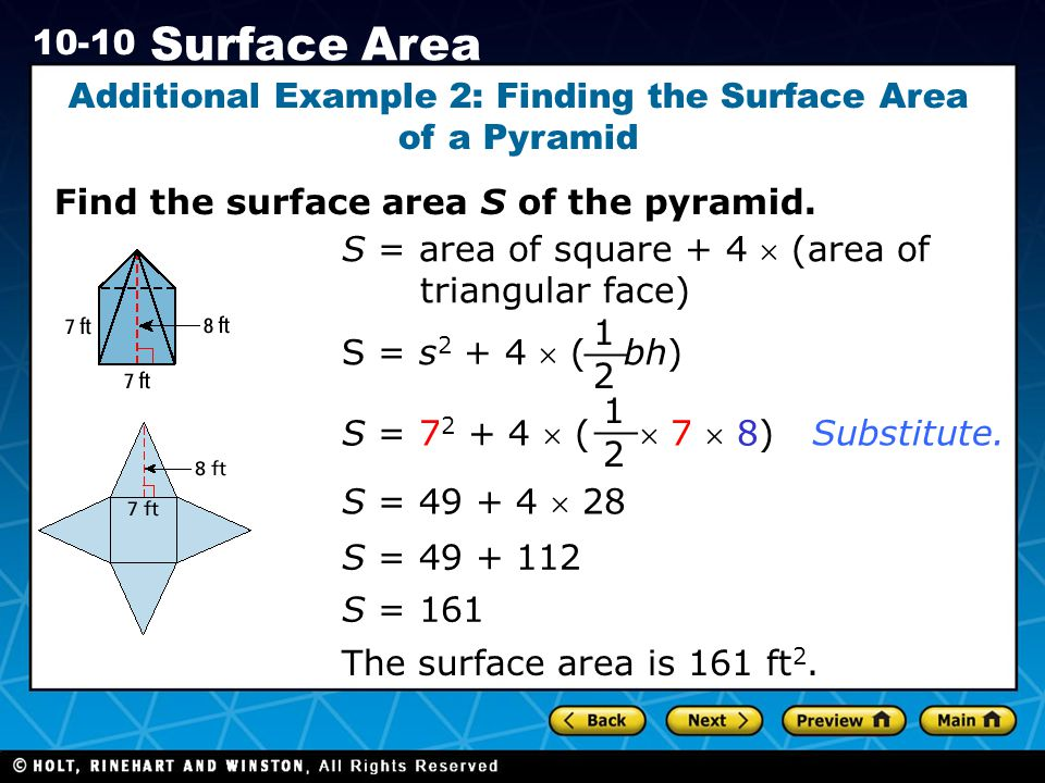 Additional Example 2: Finding the Surface Area of a Pyramid