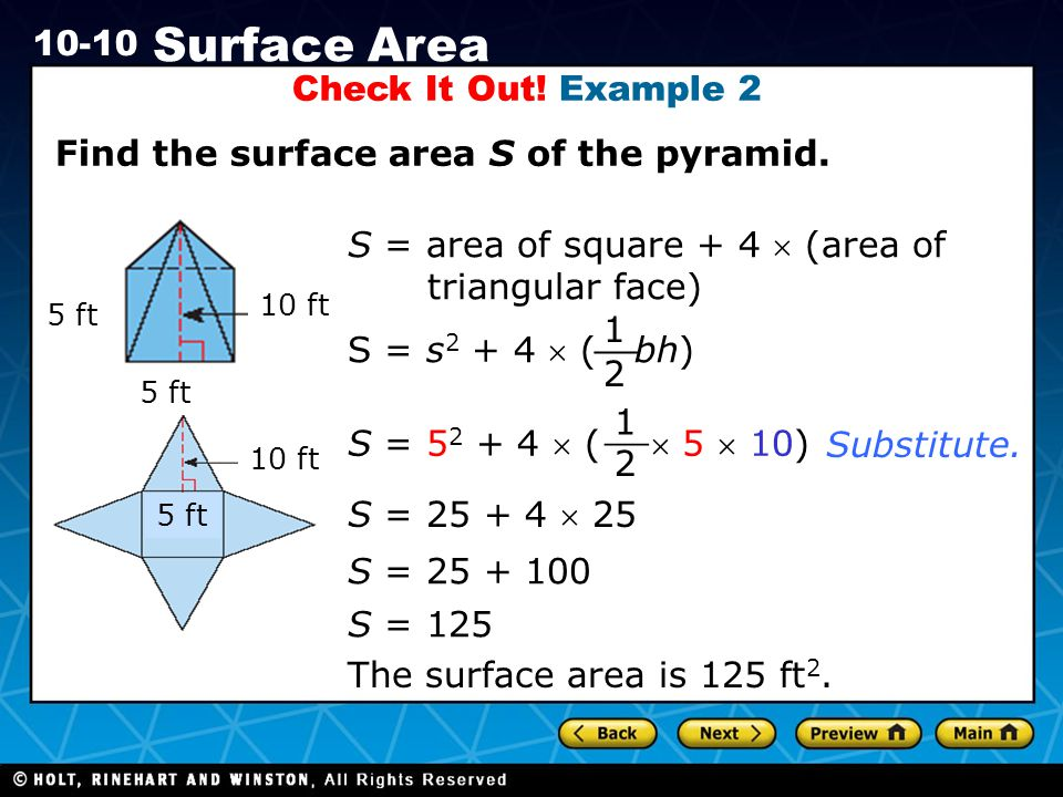 Find the surface area S of the pyramid.