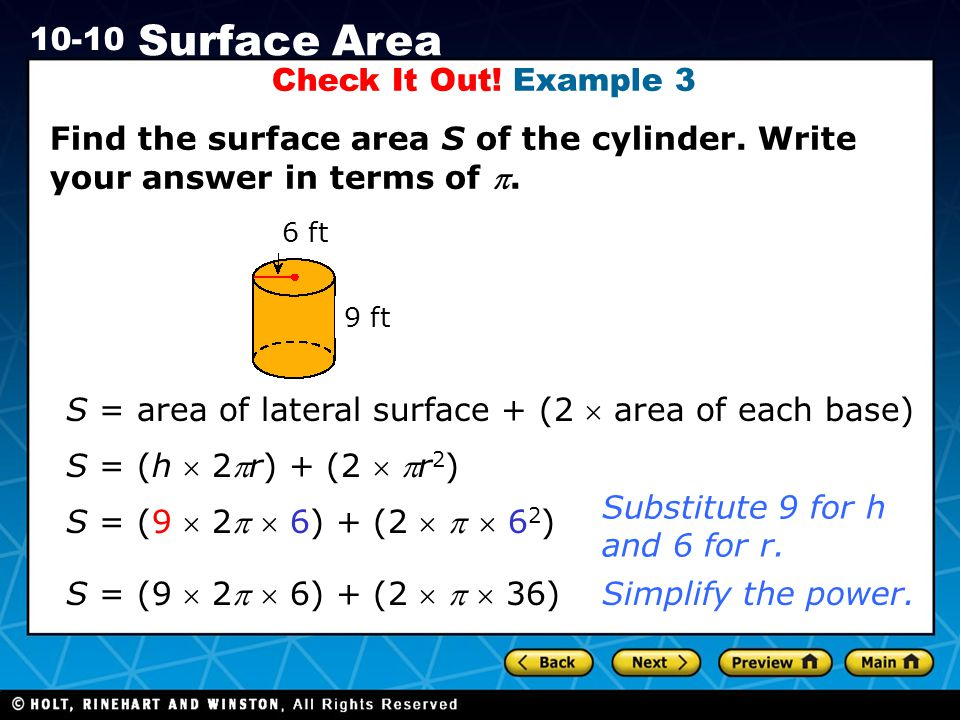 S = area of lateral surface + (2  area of each base)