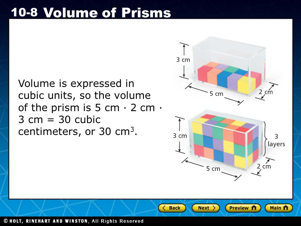 Volume is expressed in cubic units, so the volume of the prism is 5 cm · 2 cm · 3 cm = 30 cubic centimeters, or 30 cm3.