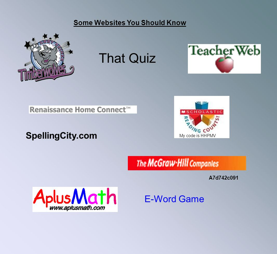 That Quiz E-Word Game SpellingCity.com Some Websites You Should Know