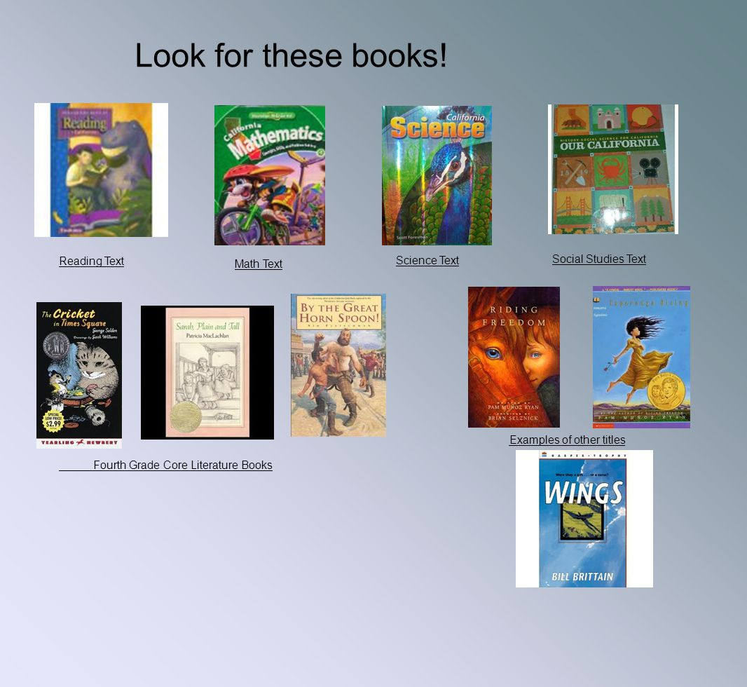 Look for these books! Reading Text Science Text Social Studies Text