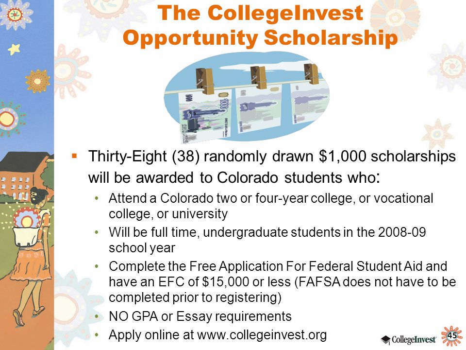financial aid scholarships senior checklist ppt video online   no gpa or essay requirements apply online at the collegeinvest opportunity scholarship