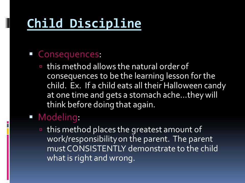 Child Discipline Consequences: Modeling: