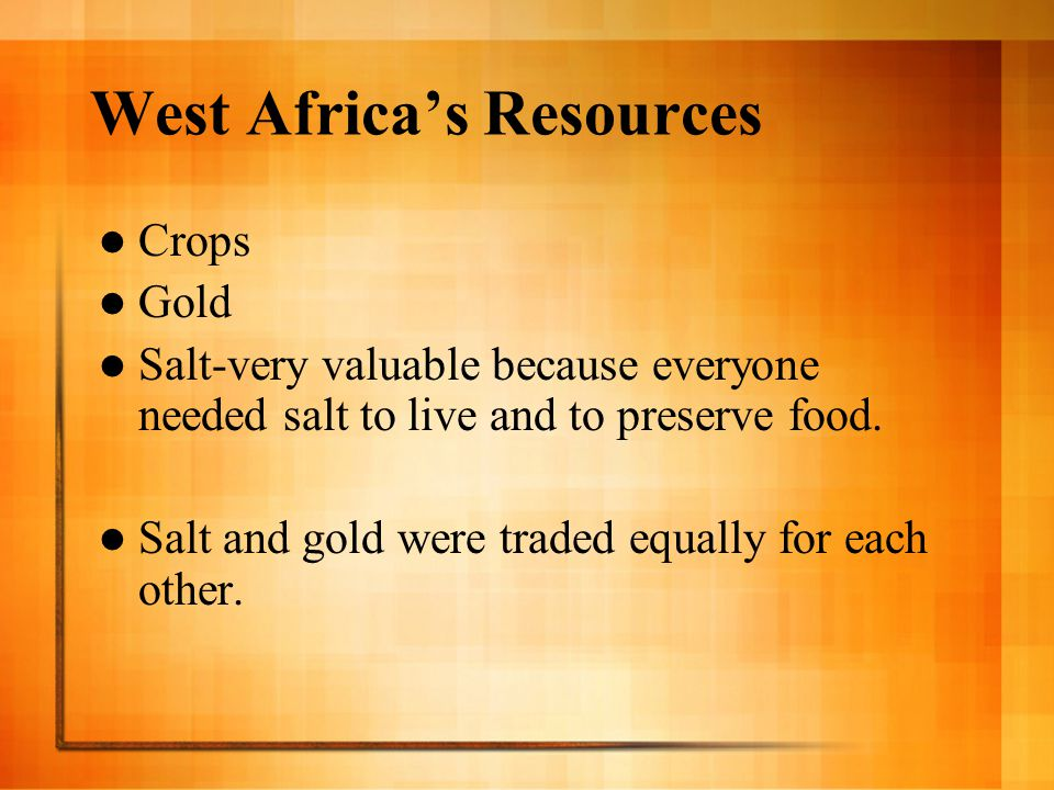 West Africa's Resources