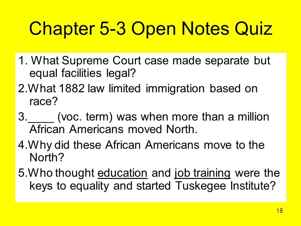 Chapter 5-3 Open Notes Quiz