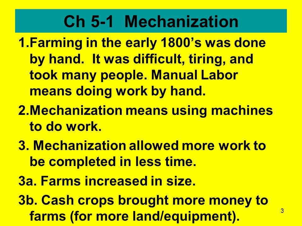 Ch 5-1 Mechanization