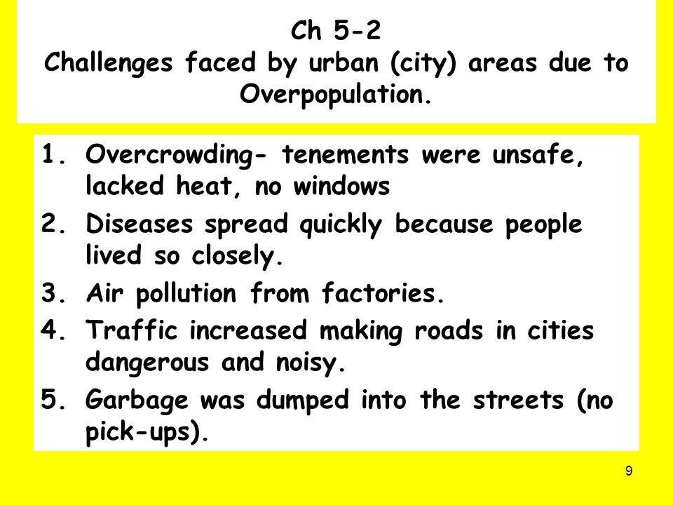 Ch 5-2 Challenges faced by urban (city) areas due to Overpopulation.