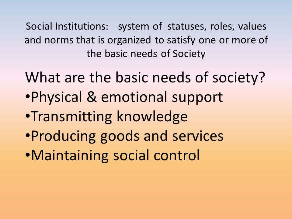 What are the basic needs of society Physical & emotional support