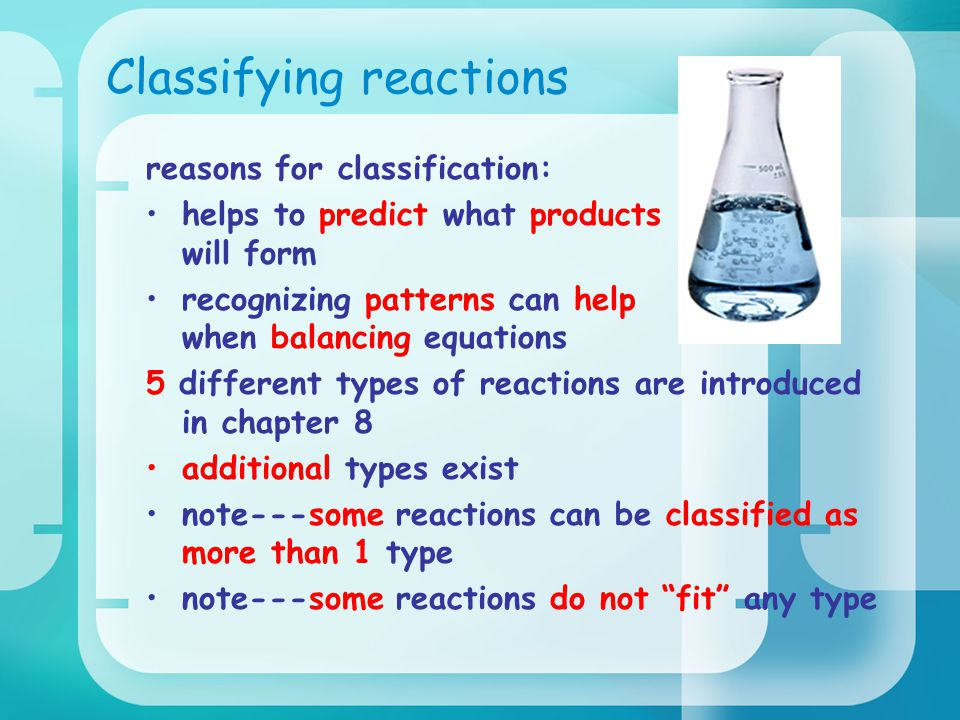 Classifying reactions