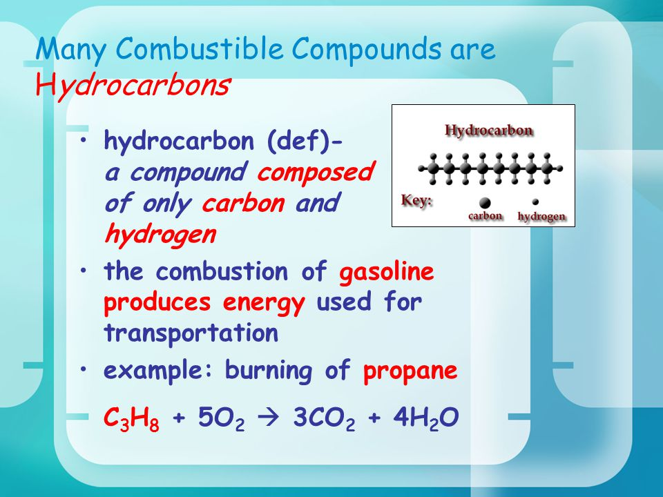 Many Combustible Compounds are Hydrocarbons