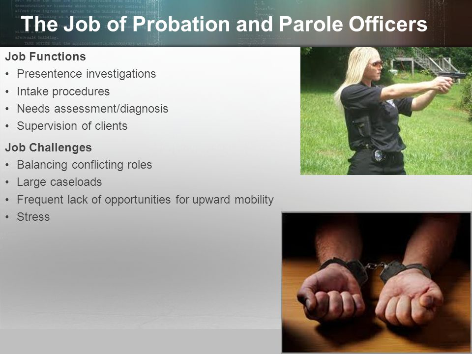 types of probation and parole essay 2012-6-25 free essays from bartleby   parole and probation are what gives inmates in today's prison system the drive to want to better them this paper will break down.