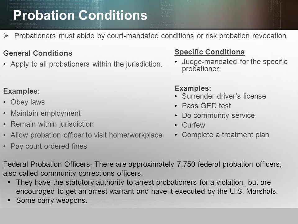 duties of a probation officer Probation officers perform their duties as authorized by the sentencing court officers keep the court informed of each individual's progress toward meeting the.