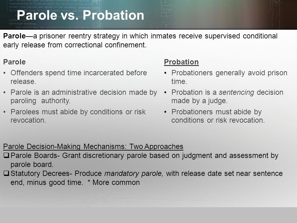 Parole vs. Probation Parole—a prisoner reentry strategy in which inmates receive supervised conditional early release from correctional confinement.