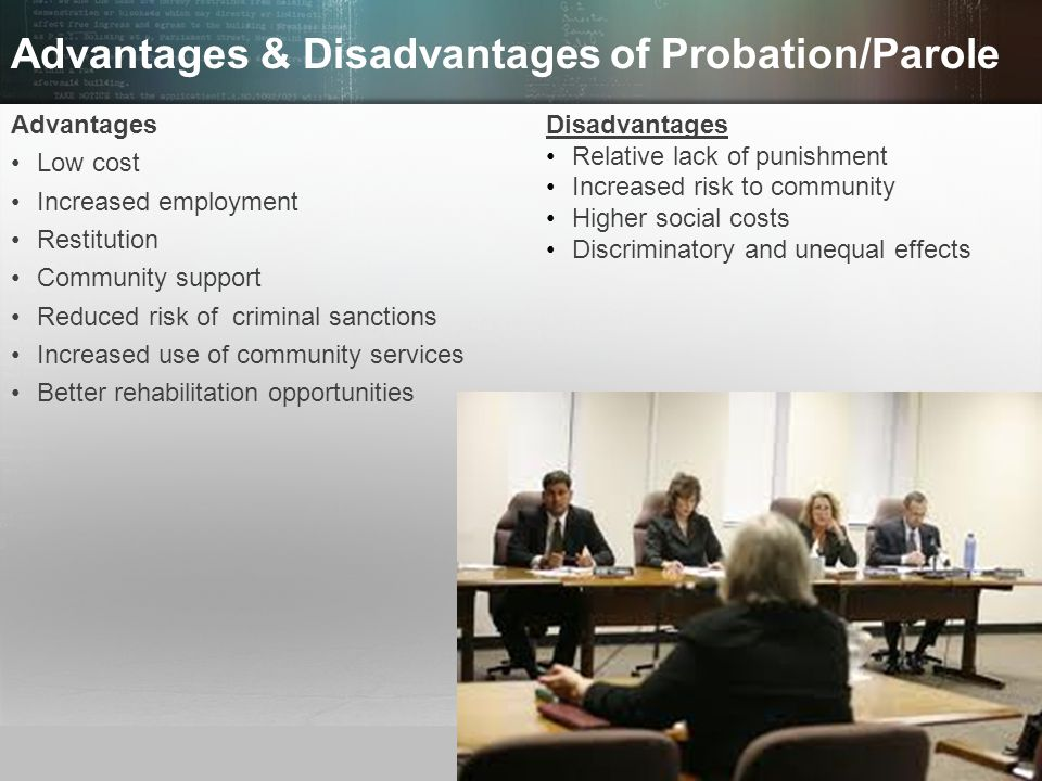 advantages and disadvantages of parole essay Essay the advantages and disadvantages of probation and parole the advantages and disadvantages of probation and parole what is probation probation is a court order sentencing that consist of the defendant to either serve or complete the remaining sentence of imprisonment in a supervised community.