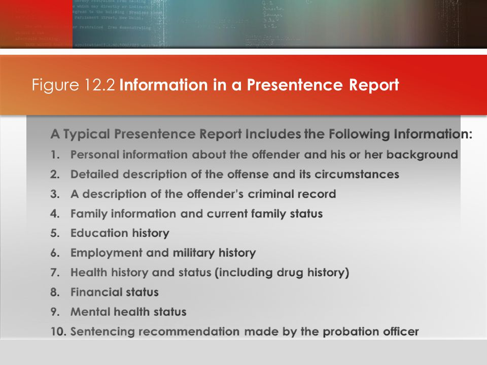 Figure 12.2 Information in a Presentence Report