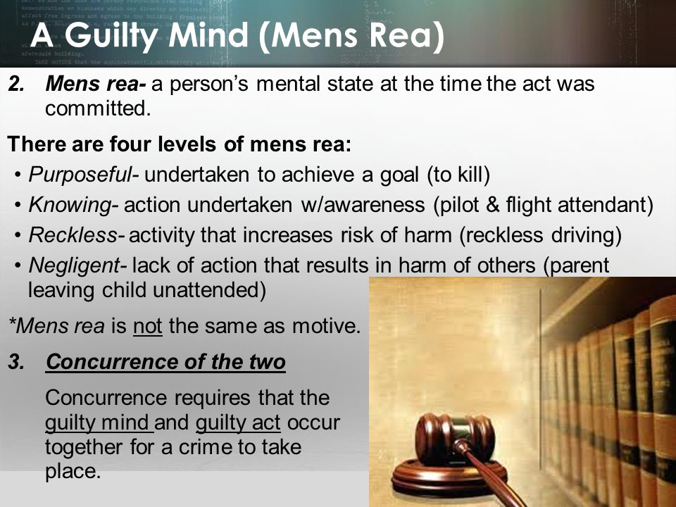 A Guilty Mind (Mens Rea)