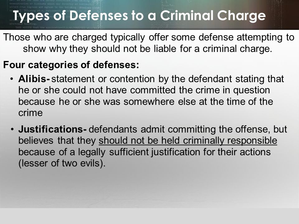 Types of Defenses to a Criminal Charge