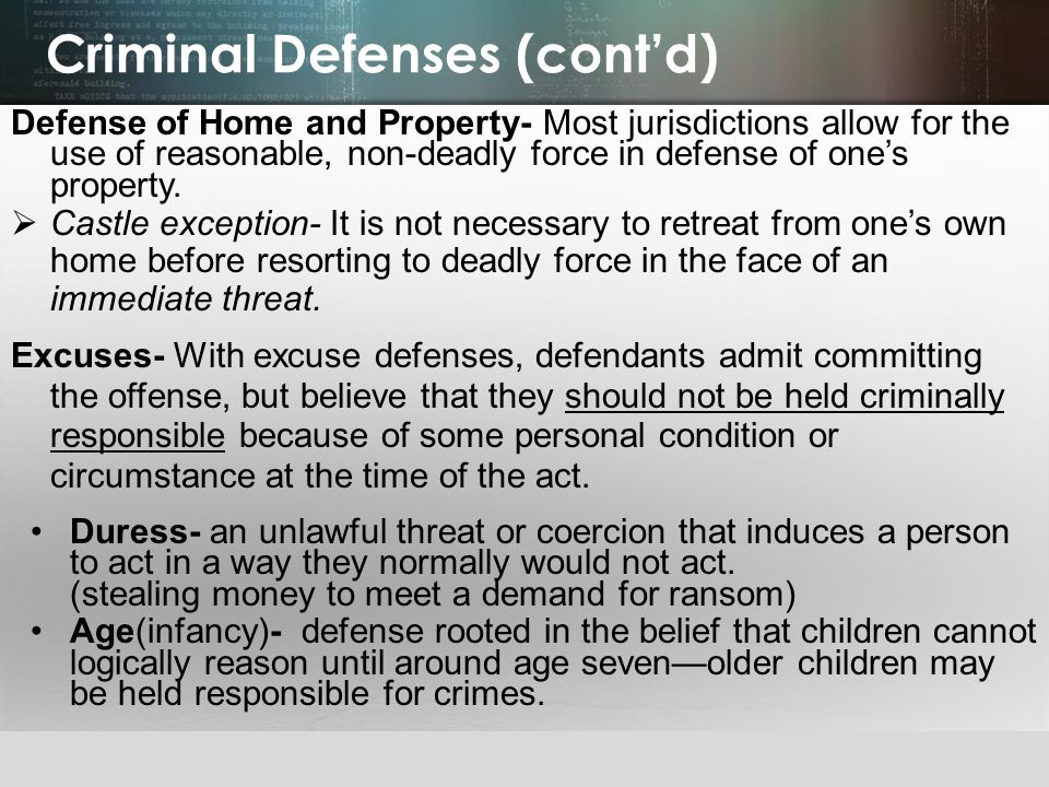 Criminal Defenses (cont'd)