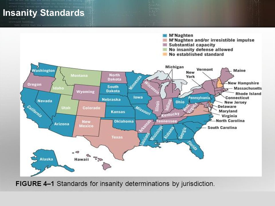 Insanity Standards FIGURE 4–1 Standards for insanity determinations by jurisdiction.